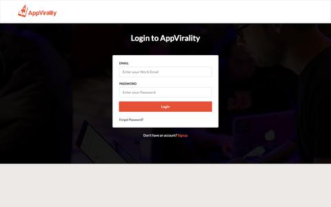 Login to AppVirality | AppVirality