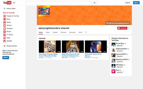Screenshot of YouTube Page youtube.com - starrynightrecords's channel  - YouTube - captured Oct. 26, 2014