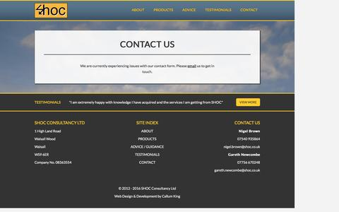 Screenshot of Contact Page shoc.co.uk - SHOC | Contact Us - captured Dec. 1, 2016