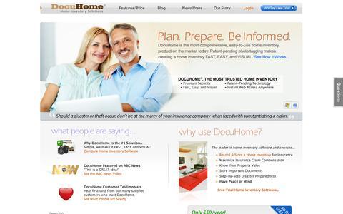 Screenshot of Home Page docuhome.com - Home Inventory, Document Storage, Free Trial Software | DocuHome.com - captured Sept. 30, 2014