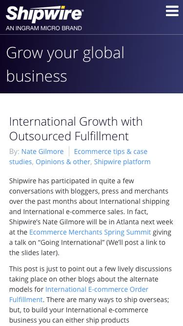 International Growth with Outsourced Fulfillment