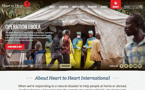 Screenshot of Home Page hearttoheart.org - Heart to Heart International | Connect to a world in need - captured Oct. 2, 2014