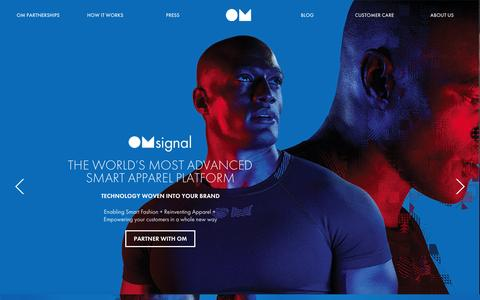Screenshot of Home Page omsignal.com - BIOMETRIC SMARTWEAR - WEARABLE TECHNOLOGY – OMsignal - captured Oct. 1, 2015