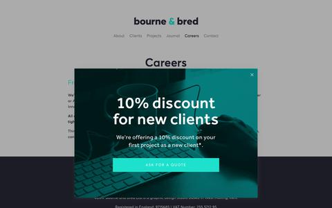 Screenshot of Jobs Page bourneandbred.co.uk - Careers — Bourne and Bred   Branding and design studio   West Malling, Kent   Run by freelance graphic designer Ian Friday - captured Oct. 11, 2017