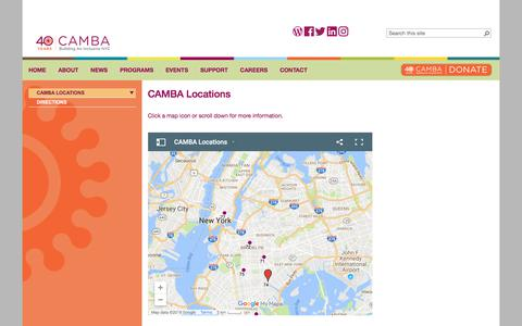 Screenshot of Locations Page camba.org - CAMBA                                       CAMBA Locations - captured July 15, 2018