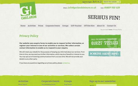 Screenshot of Privacy Page garlandsleisure.co.uk - Privacy Policy - captured Oct. 2, 2014