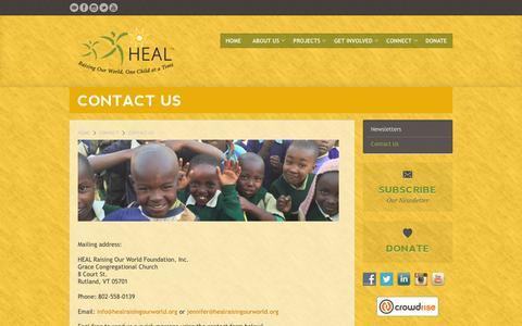 Screenshot of Contact Page healraisingourworld.org - Contact Us | HEAL - captured Jan. 24, 2016