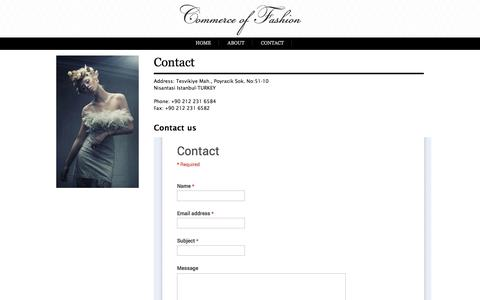 Screenshot of Contact Page commerceoffashion.com - Commerce of Fashion - captured Oct. 27, 2014