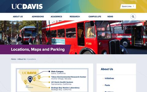 Screenshot of Locations Page ucdavis.edu - Locations, Maps and Parking | UC Davis - captured July 20, 2016