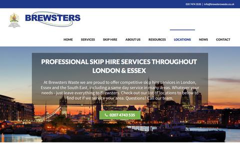 Screenshot of Locations Page brewsterswaste.co.uk - Wheelie Bins and Skip Bins hired throughout Greater London - captured Oct. 11, 2017