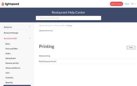 Printing – Lightspeed Restaurant
