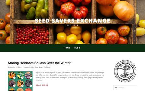 Screenshot of Blog seedsavers.org - Seed Savers Exchange - captured Sept. 18, 2014