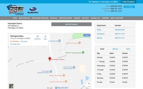 Screenshot of Hours Page flemingtonsubaru.com - Directions to Flemington Subaru | New Jersey Subaru Dealership - captured Feb. 6, 2018