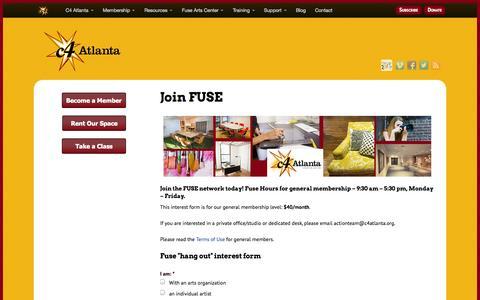 Screenshot of Signup Page c4atlanta.org - C4 Atlanta |  Join FUSE - captured Oct. 28, 2014