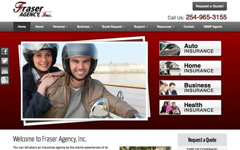 Screenshot of Home Page fraseragency.com - Auto, Home, Business, Life, Health Insurance in Stephenville, Texas - Fraser Agency, Inc. - captured Sept. 25, 2018