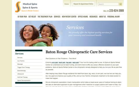 Screenshot of Services Page docshay.com - Baton Rouge  chiropractic Services | Spine & Sports Rehab Center - captured Sept. 27, 2018