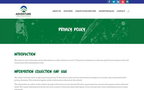 Screenshot of Privacy Page adventureprofessionals.com.au - Privacy Policy - Adventure Professionals - captured July 24, 2016