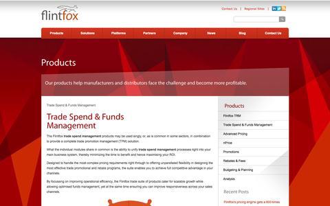 Screenshot of Products Page flintfox.com - Trade Spend Management  Trade Promotion Management   Flintfox - captured Sept. 30, 2014