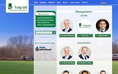 Screenshot of Team Page tulipoil.com - Management | Tulip Oil | Upstream development and production company with a focus on oil and gas assets in Western Europe. - captured Sept. 30, 2014
