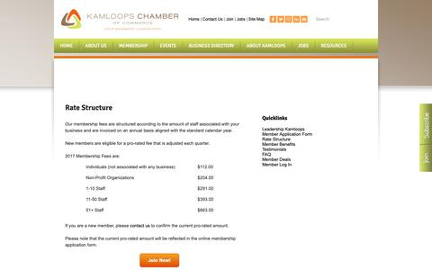 Screenshot of Signup Page kamloopschamber.ca - Rate Structure - Kamloops Chamber of Commerce | Kamloops, BC - captured Oct. 14, 2018