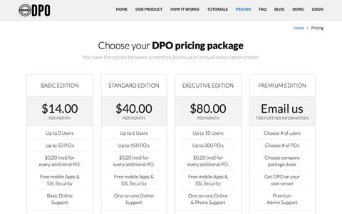 Screenshot of Pricing Page digitalpurchaseorder.com - Small business & big corporations pricing - captured June 27, 2016