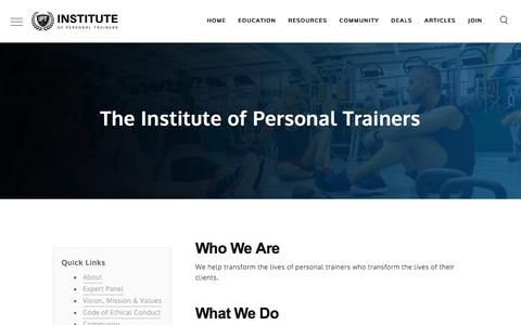 Screenshot of About Page instituteofpersonaltrainers.com - About the Institute of Personal Trainers - Institute of Personal Trainers - captured July 16, 2019