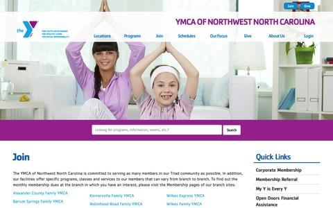 Screenshot of Signup Page ymcanwnc.org - Join - YMCA of Northwest North Carolina - captured Sept. 29, 2017