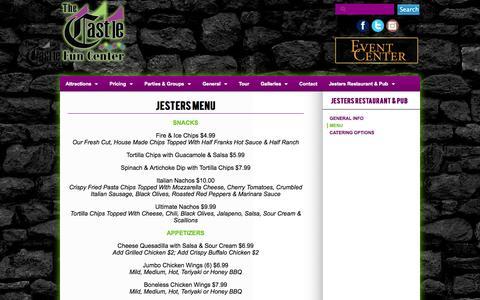 Screenshot of Menu Page thecastlefuncenter.com - Menu | Castle - captured Nov. 3, 2014