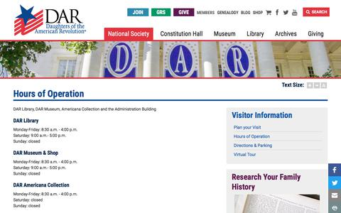 Screenshot of Hours Page dar.org - Hours of Operation   Daughters of the American Revolution - captured Sept. 23, 2018