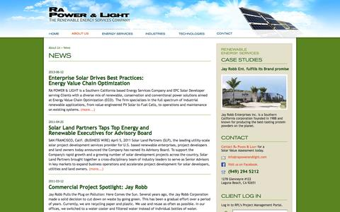 Screenshot of Press Page rapowerandlight.com - Ra Power & Light - captured Oct. 28, 2014