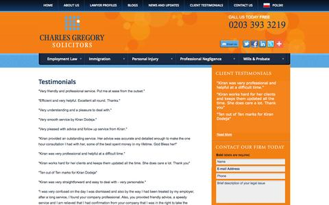 Screenshot of Testimonials Page cgslaw.co.uk - Testimonials | Charles Gregory Solicitors Limited | Hammersmith, London, United Kingdom - captured Oct. 2, 2014