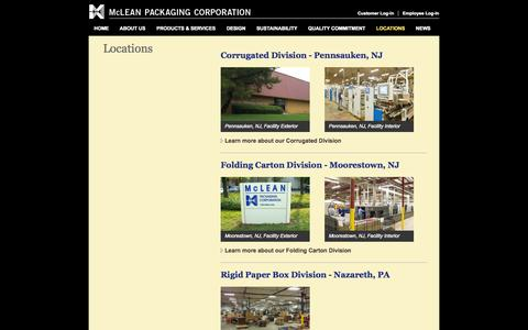 Screenshot of Locations Page mcleanpackaging.com - McLean Packaging Corporation - Locations - captured Oct. 27, 2014