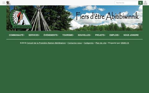 Screenshot of Services Page pikogan.com - Services • Conseil de la Première Nation Abitibiwinni - captured Feb. 22, 2018