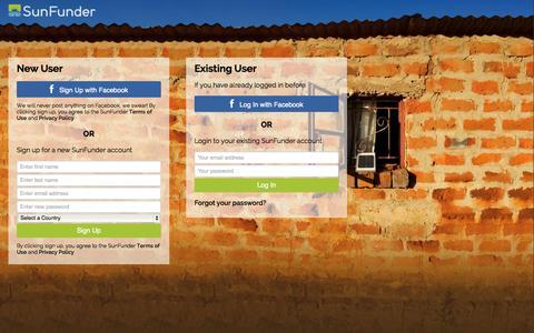 Screenshot of Login Page sunfunder.com - SunFunder Login - captured Sept. 17, 2014