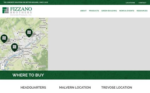 Screenshot of Contact Page Locations Page fizzano.com - Where to Buy - Fizzano Brothers Concrete Products - captured Oct. 14, 2017