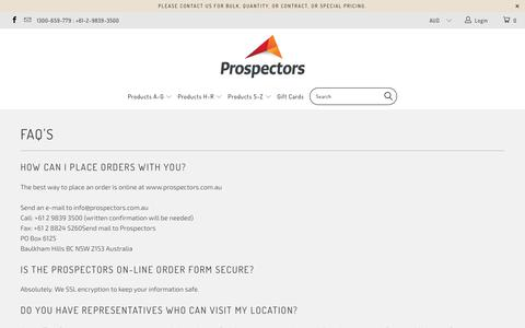 Screenshot of FAQ Page prospectors.com.au - FAQ's - captured Sept. 15, 2017