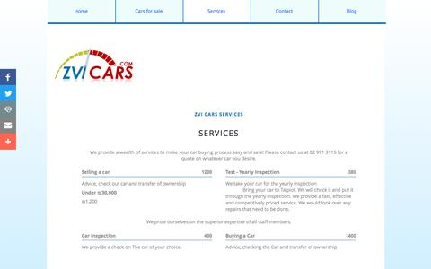 Screenshot of Services Page zvicars.com - Services - captured Aug. 12, 2016