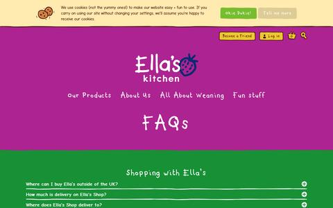 Screenshot of FAQ Page ellaskitchen.co.uk - Weaning | Shopping with Ella's | Ella's Products + Ingredients | FAQ's  | Ella's Kitchen - captured May 17, 2017