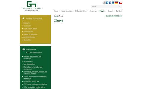 Screenshot of Press Page grubnerlegal.cz - News - captured Oct. 17, 2016