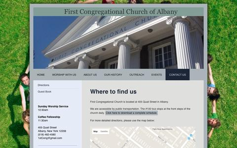 Screenshot of Maps & Directions Page albanyfirstcongregational.org - First Congregational Church of Albany - Directions - captured May 24, 2016