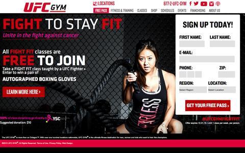 Screenshot of Home Page ufcgym.com - UFC | Sign Up for a free class - captured Oct. 1, 2015