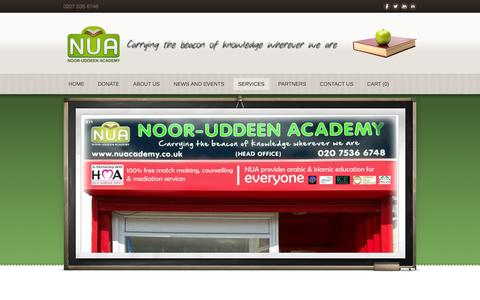 Screenshot of Services Page nuacademy.co.uk - Services - Noor Uddeen Academy - captured Oct. 26, 2014