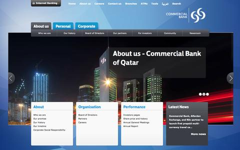 Screenshot of About Page cbq.qa - About Us | Commercial Bank of Qatar - captured Sept. 23, 2014