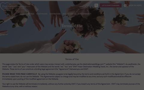 Screenshot of Terms Page destinationweddings.com - Destination Weddings Information, Destination Weddings Terms of Use - captured Nov. 10, 2016