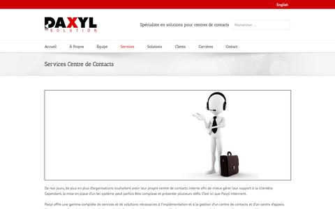 Screenshot of Services Page paxyl.ca - Services Téléphonie, Centre d'Appels et Centre de Contacts | Paxyl.ca - captured Sept. 29, 2014