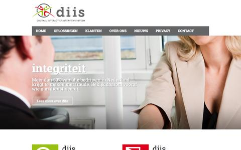 Screenshot of Home Page diis.nl - diis - Digitale integriteit- & exit interviews - captured Oct. 5, 2014