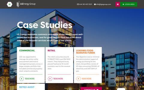 Screenshot of Case Studies Page lgegroup.com - Case Studies | LGEnergy Group - captured Sept. 25, 2018