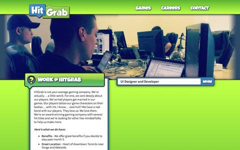 Screenshot of Jobs Page hitgrab.com - Play Online Social Games | Careers | HitGrab Inc. - captured Sept. 19, 2014