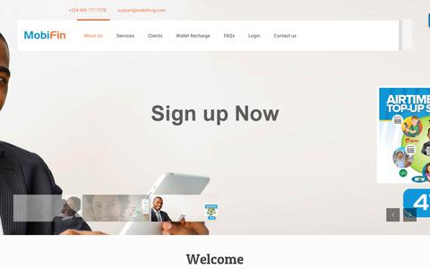 Screenshot of About Page mobifinng.com - Welcome to MobiFin | A Complete Mobile Commerce Solution - captured Oct. 19, 2018