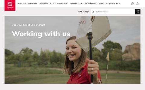 Screenshot of Jobs Page englandgolf.org - Working with us – England Golf - captured Nov. 27, 2018